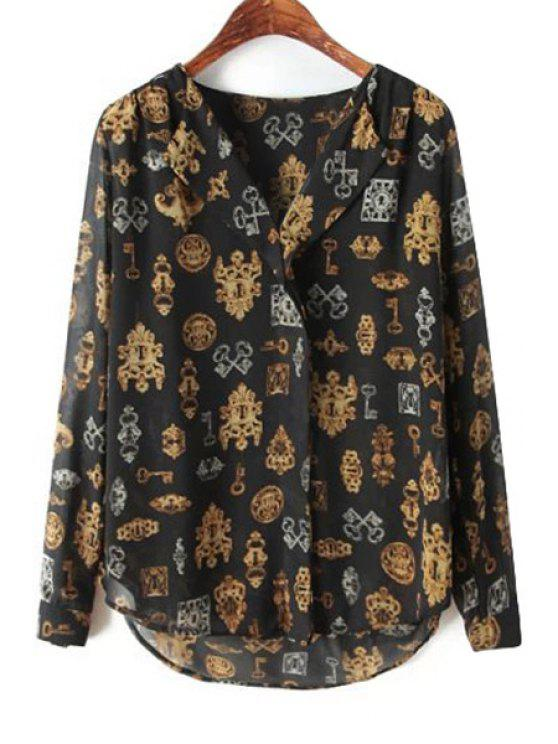 buy Key Print Long Sleeve Blouse - BLACK S