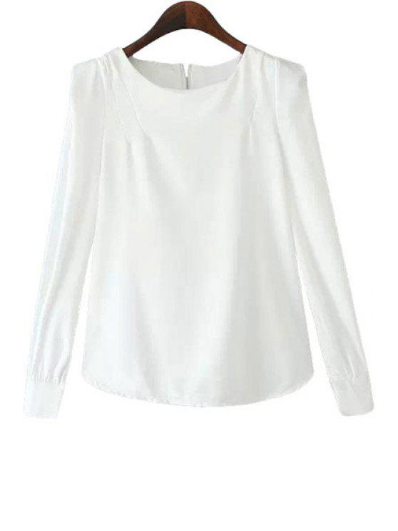 hot Solid Color Zipper Back Blouse - WHITE S