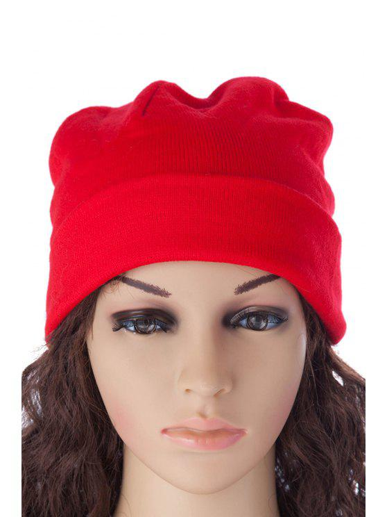 new Solid Color Knitted Beanie - RED S