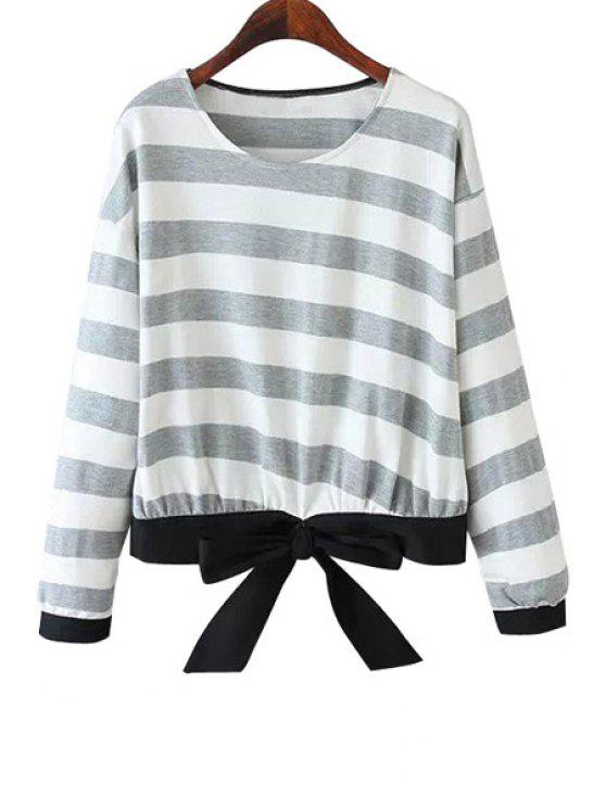 chic Striped Bowknot Sweatshirt - GRAY ONE SIZE(FIT SIZE XS TO M)