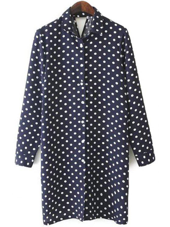 outfits Long Sleeve Polka Dot Chiffon Dress - CADETBLUE L