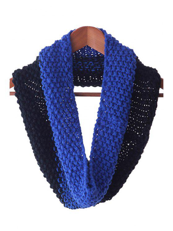 sale Color Block Knitted Neck Warmer - BLUE AND BLACK