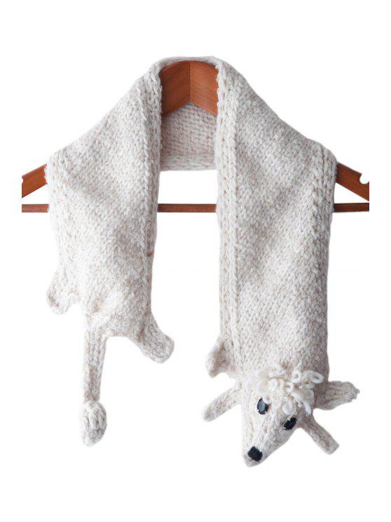 affordable Artificial Wool Poodle Shape Scarf - WHITE