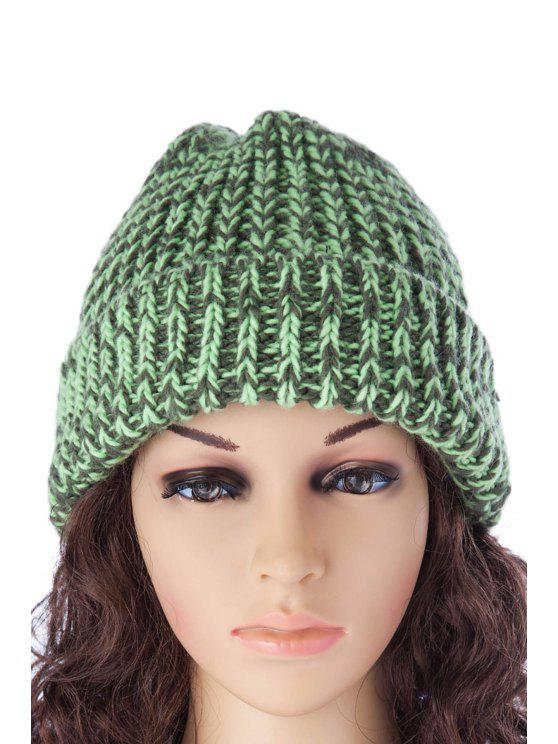 hot Color Block Knitted Hat - GREEN S