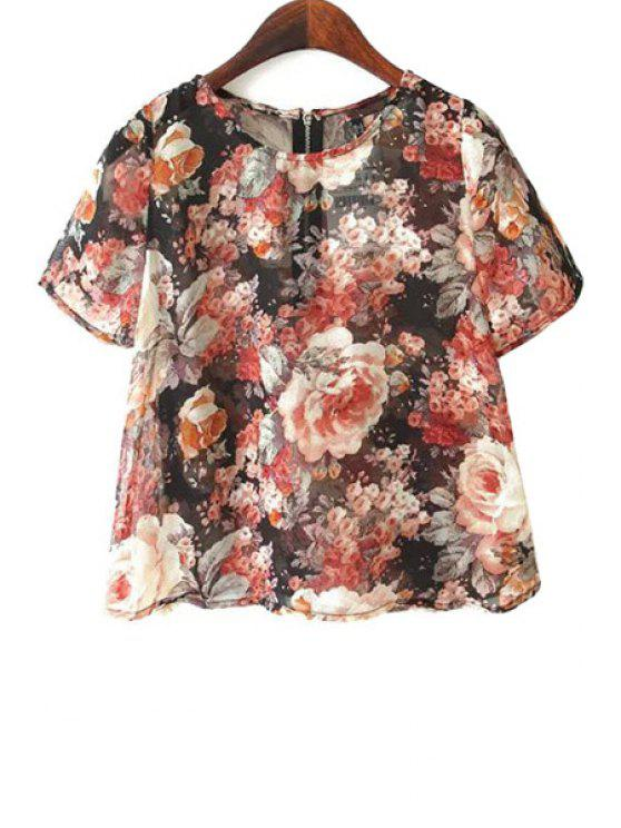 trendy Floral Short Sleeve Chiffon Blouse - DEEP RED S