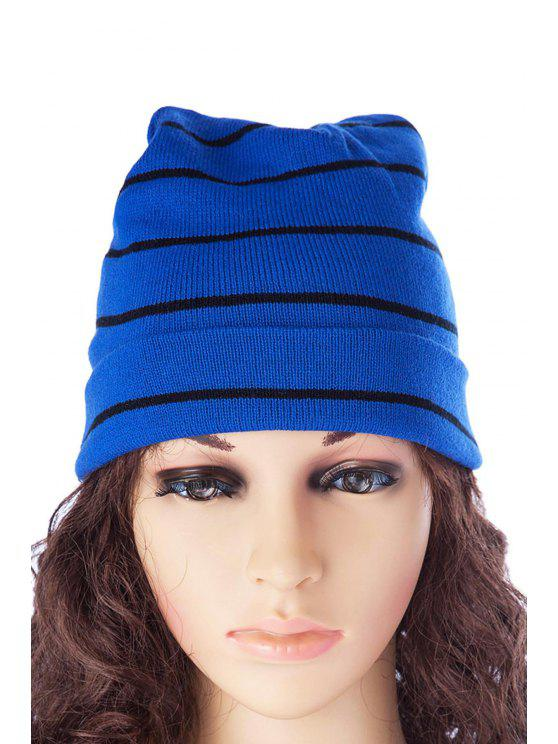 trendy Stripe Knitted Hat - BLUE AND BLACK S