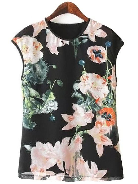 hot Floral Print Chiffon Tank Top - BLACK S