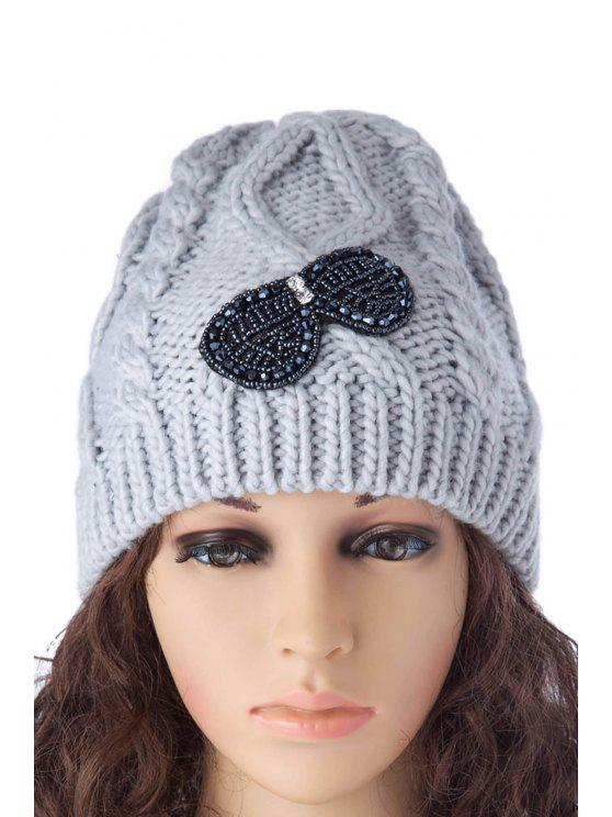 buy Beading Bowknot Knitted Hat - AS THE PICTURE S