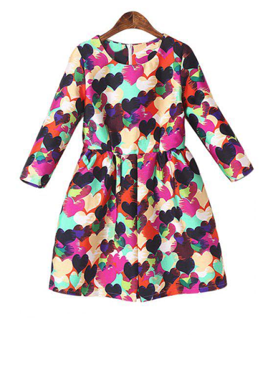 fancy Full Heart Print 3/4 Sleeve Dress - PEACH RED S