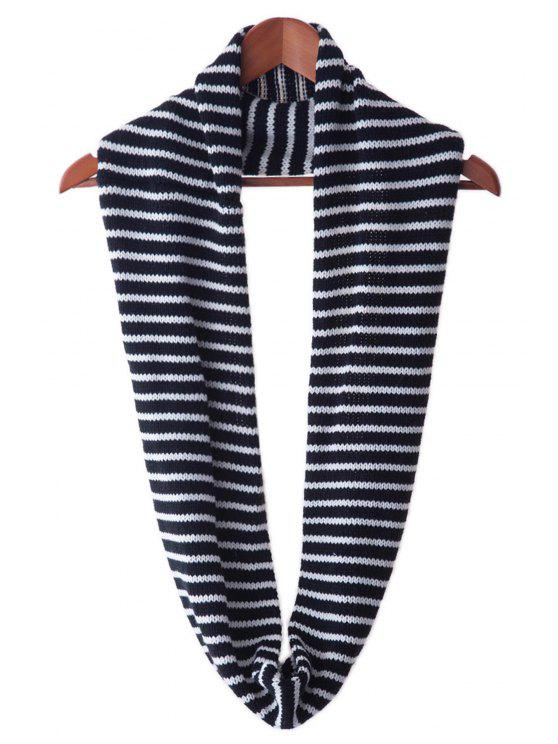 fashion Color Block Stripe Neck Warmer - WHITE AND BLACK