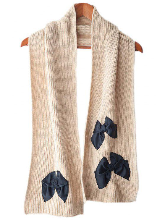 womens Bowknot Applique Scarf - BROWN