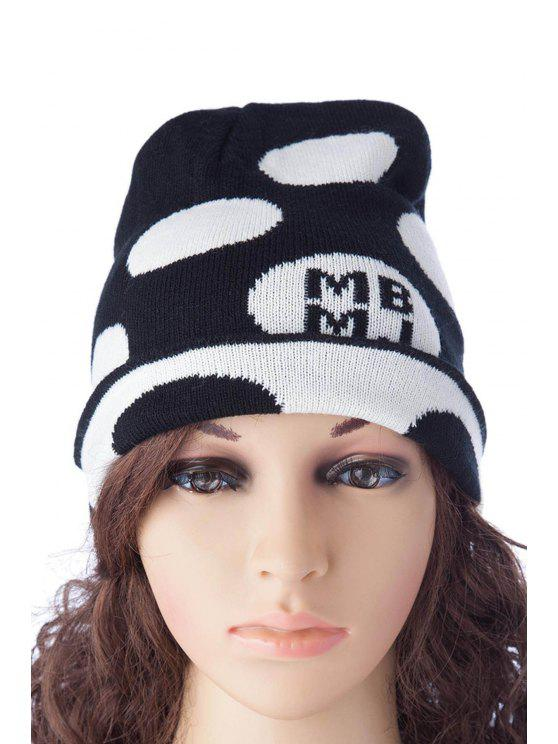 fancy Polka Dot Letter Pattern Hat - BLACK M