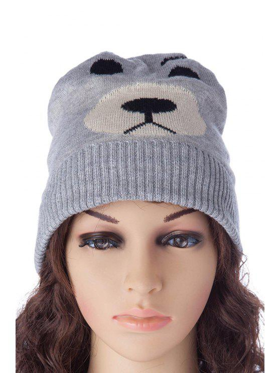 ladies Bear Pattern Revers Knitted Hat - AS THE PICTURE S