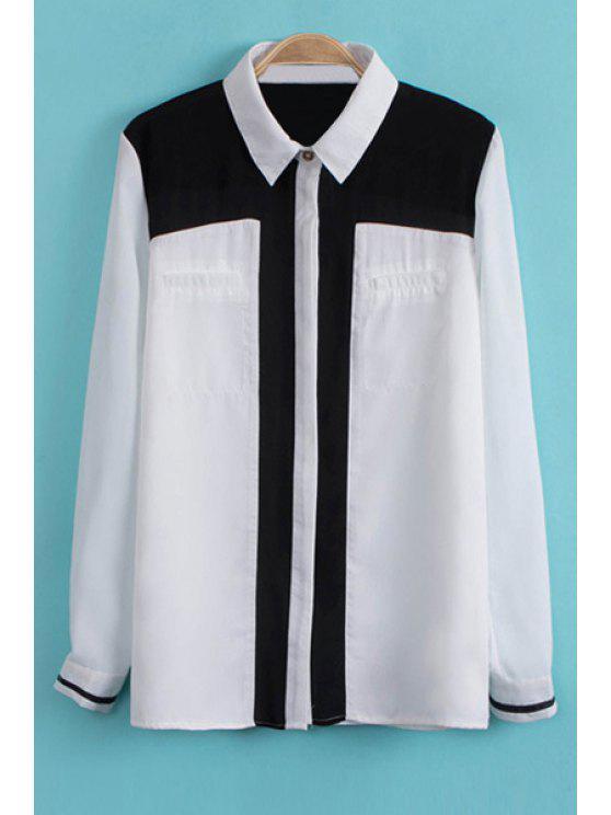 affordable Color Block Shirt Collar Chiffon Shirt - WHITE S