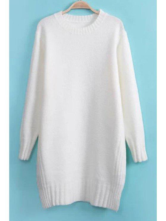 buy Solid Color Side Slit Sweater - WHITE ONE SIZE(FIT SIZE XS TO M)