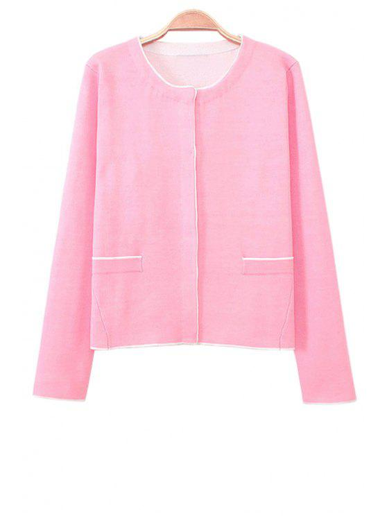 online Pink Long Sleeve Cardigan - PINK S