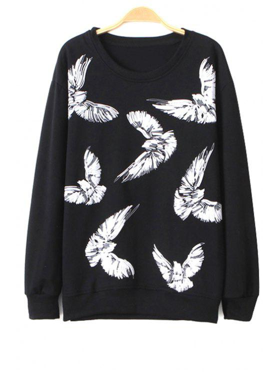 women's Eagle Print Long Sleeve Sweatshirt - BLACK S