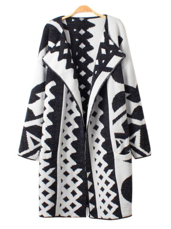 latest Geometric Pattern Cardigan - WHITE AND BLACK ONE SIZE(FIT SIZE XS TO M)