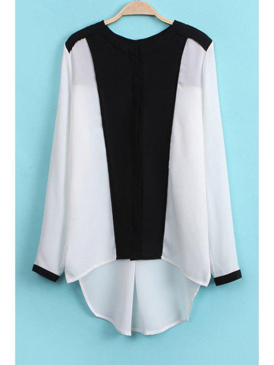 ladies Color Block Chiffon Blouse - WHITE AND BLACK S