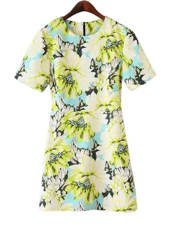women Floral Pattern Short Sleeve Dress - CELADON S