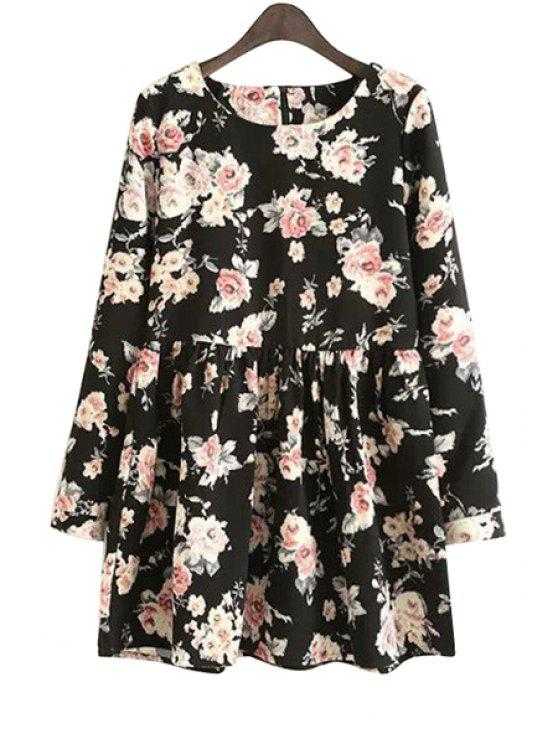 online Long Sleeves Full Floral Print Dress - BLACK S