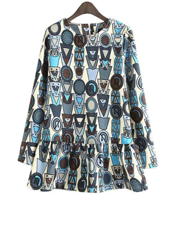 unique Geometric Print Long Sleeve Dress - WHITE S