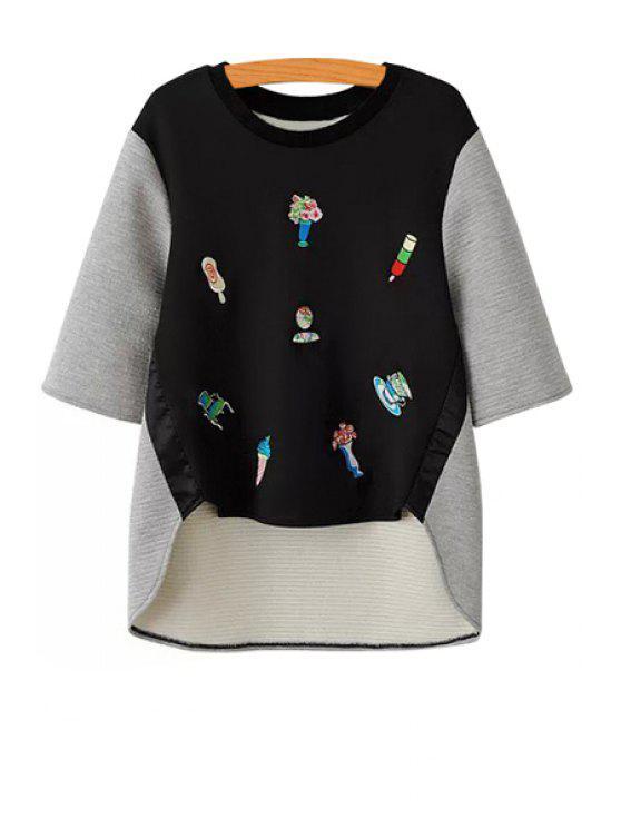 fancy Half Sleeve Color Block Sweatshirt - BLACK AND GREY S