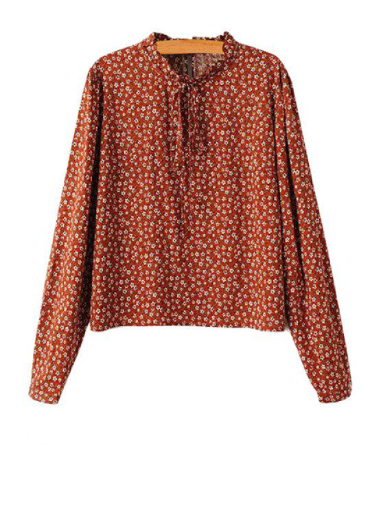 women's Tiny Floral Print Stand Collar Blouse - DARK RED S