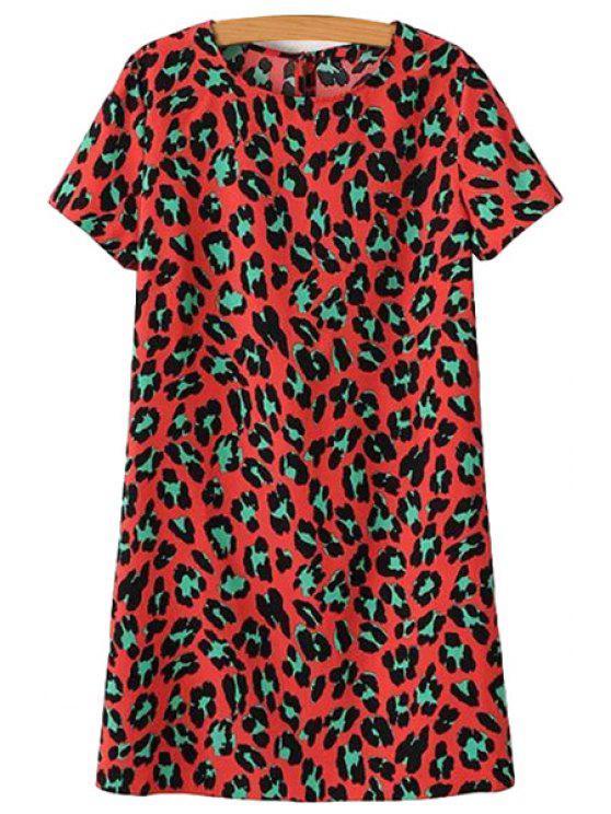 outfit Leopard Print Short Sleeve Dress - LEOPARD S