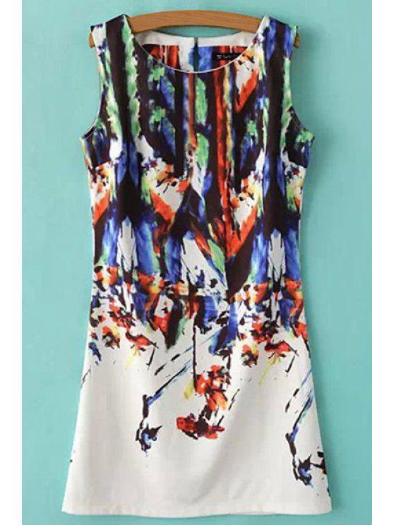 shops Abstract Print Scoop Neck Sundress - BLACK S