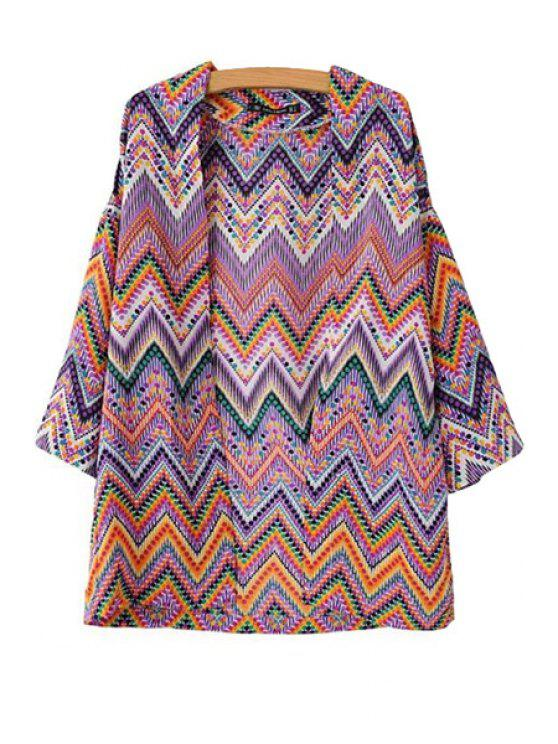 affordable Wavy Print 3/4 Sleeve Blouse - PURPLE S