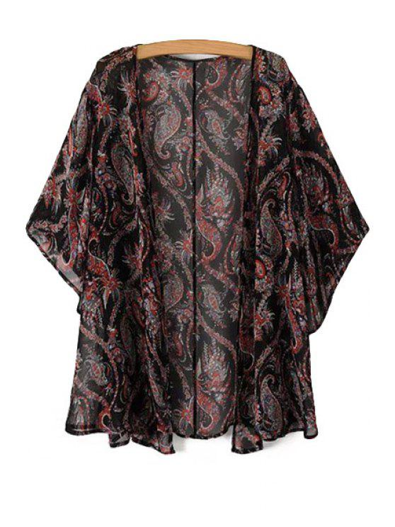 best Print Half Sleeve Chiffon Blouse - RED S