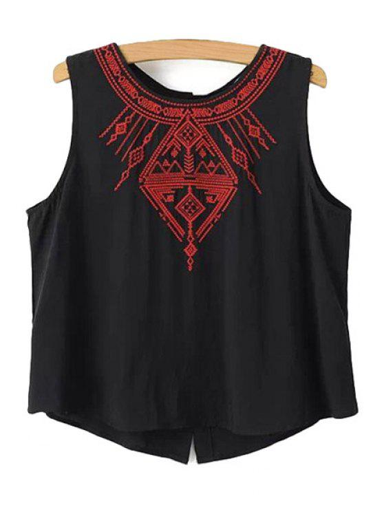 latest Ethnic Embroidery Tank Top - BLACK S
