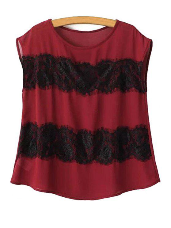 shop Lace Splicing Sleeveless Blouse - RED S