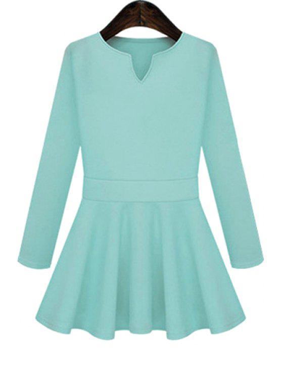 women Solid Color Flouncing Dress - BLUE S