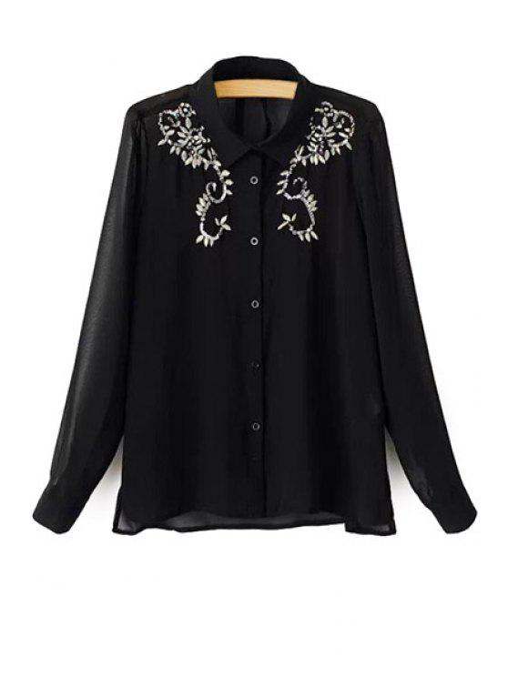 women Long Sleeve Sequins Embroidery Shirt - BLACK S