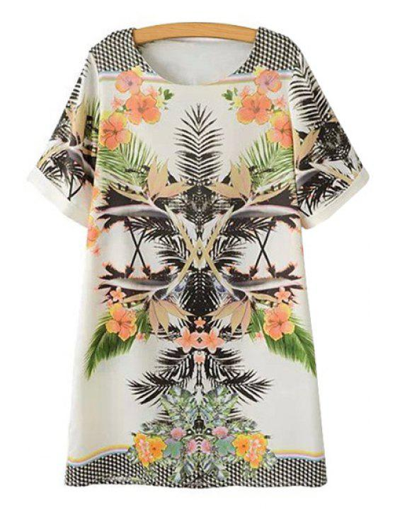 chic Short Sleeve Floral Leaf Print Dress - COLORMIX S