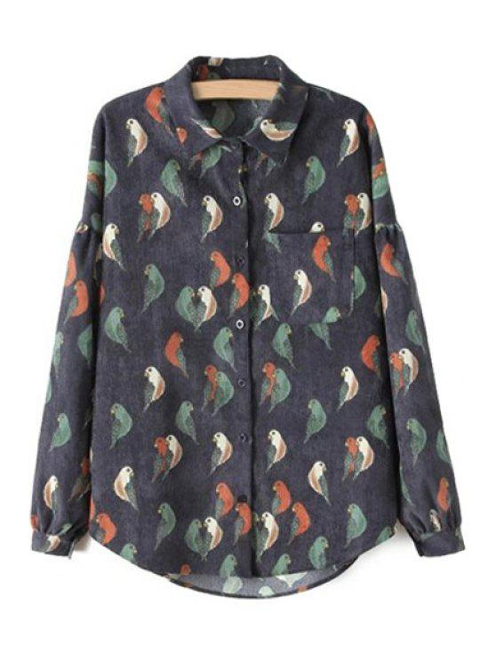 hot Bird Print Corduroy Shirt - BLACK S