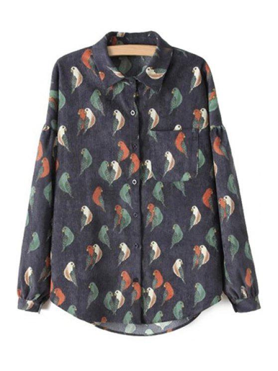 hot Bird Print Corduroy Shirt - BLACK S