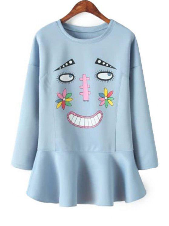 womens Cartoon Print Ruffles Dress - BLUE S