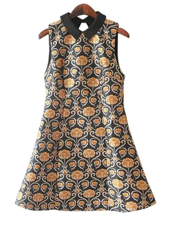 unique Print A-Line Sleeveless Dress - COLORMIX M