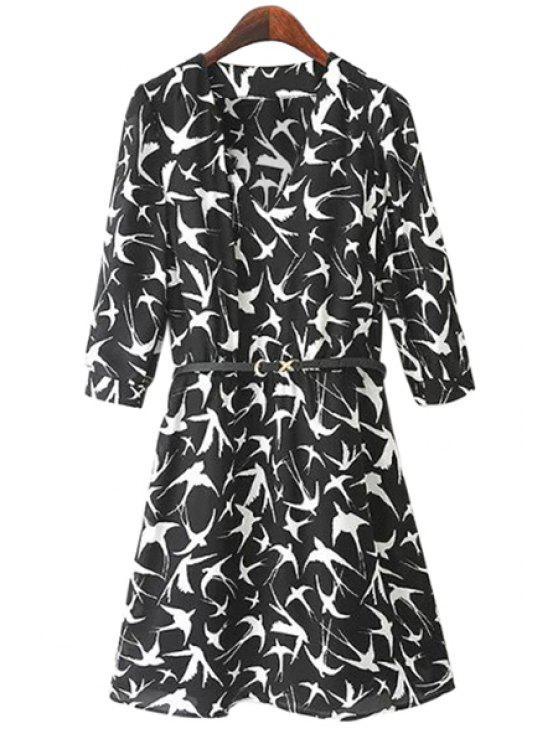 womens Swallow Print Half Sleeve Dress - BLACK S