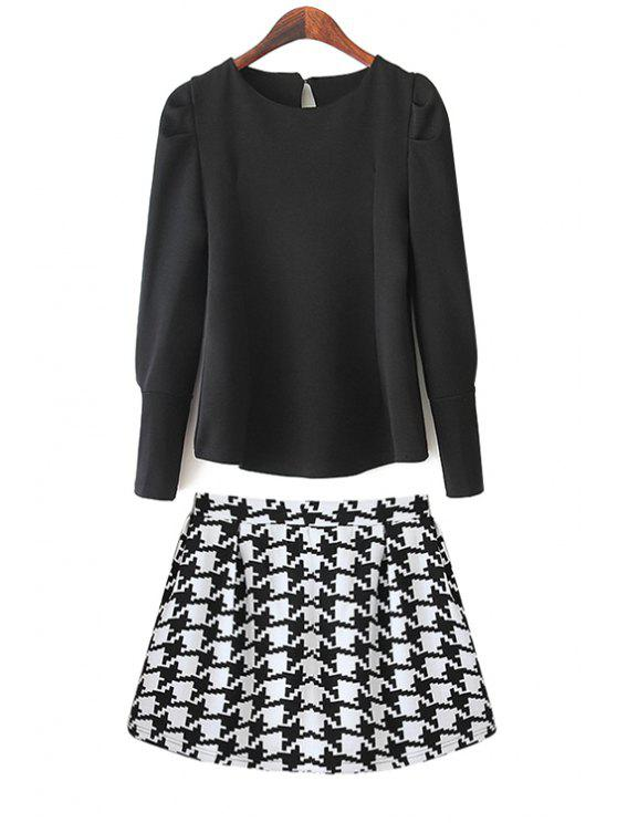 online Solid Color Blouse and Houndstooth Skirt Suit - BLACK S