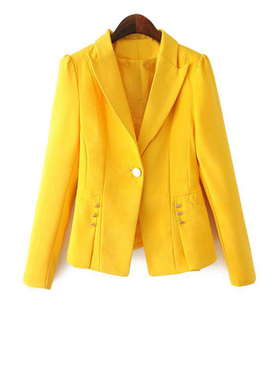 ladies One Button Solid Color Blazer - YELLOW L