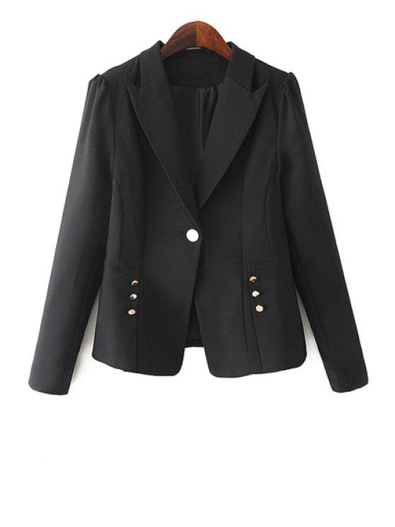 hot One Button Solid Color Blazer - BLACK XL