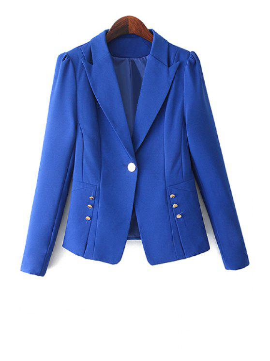 trendy One Button Solid Color Blazer - BLUE M