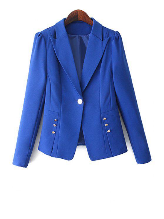 trendy One Button Solid Color Blazer - BLUE M