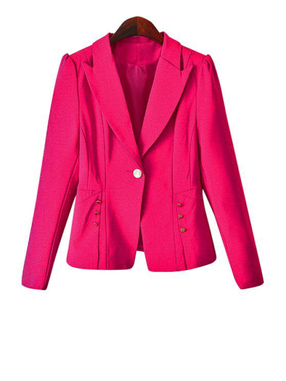 shops One Button Solid Color Blazer - PINK XL