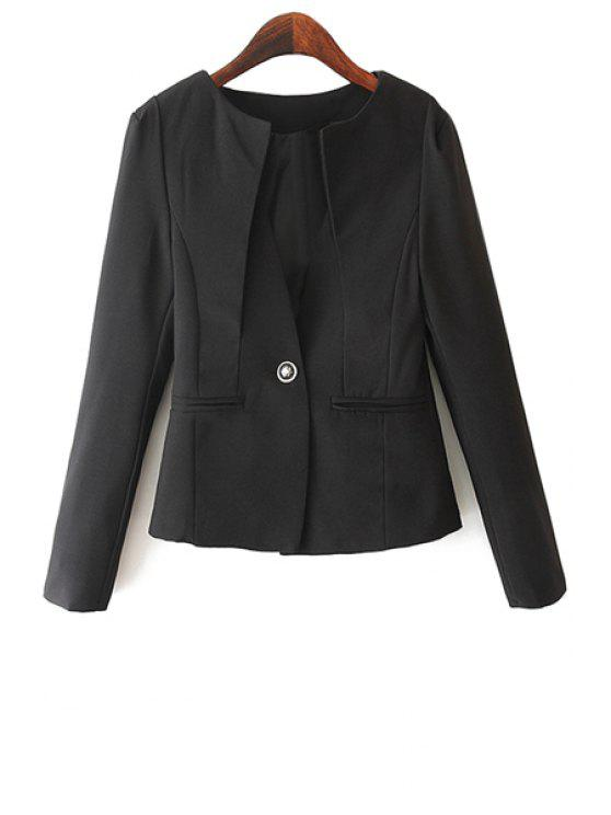 fancy Solid Color One Button Slimming Blazer - BLACK S
