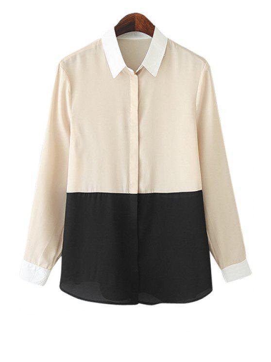 trendy Color Block Shirt Collar Shirt - YELLOWISH PINK S